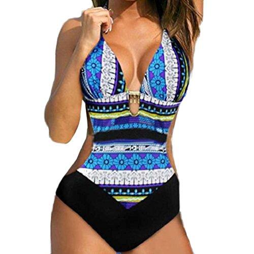 Koly mediados de la cintura mujeres push-up bikini impreso Bohemia una pieza traje de baño traje de baño Azul