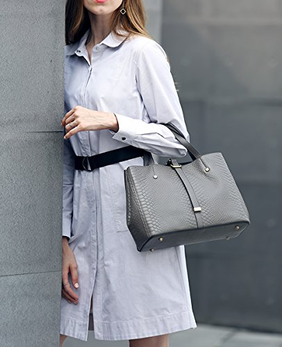 Bag Leather Multiple Women Grey Handbags Shoulder Dissa Pockets Soft Q0877 q4BfUR7