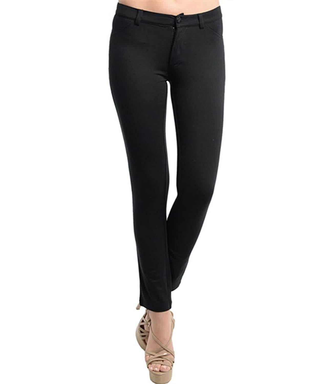 Simplicity Women's Trousers w Mock Front & Functional Back PocketsBlack