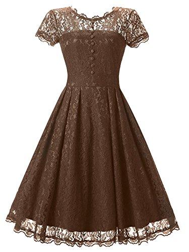 Tecrio Women Elegant Vintage Floral Lace Capshoulder Cocktail Party Swing Dress (Small, Brown)