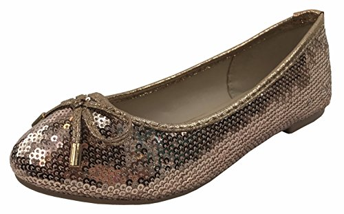 Forever Collection Girls Glitter Coverered Dress Ballet Flats Slip On Karra-51K, Rose Gold, 12 ()