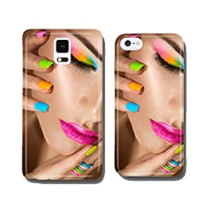 Beauty girl portrait with vivid makeup and colorful nailpolish cell phone cover case iPhone6