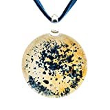 Hand Blown Murano Glass Blue Yellow White Color Ink Spray Splatter Art Pendant Necklace, 18-20''