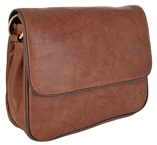 Gigi Leather Small Two - Tone Flap 3 Section Shoulder Handbag 1008A Mid Brown / Dark Brown
