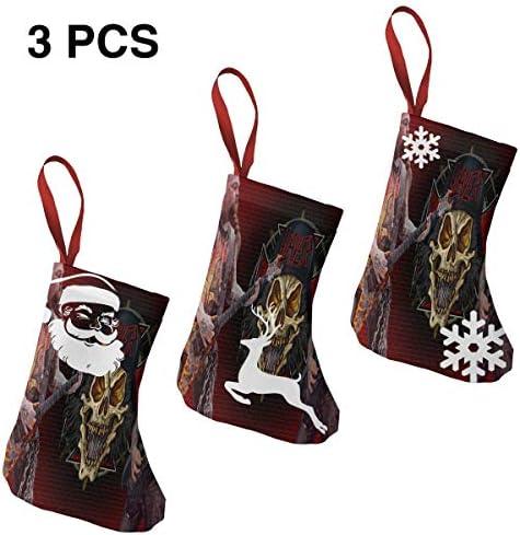 クリスマスの日の靴下 (ソックス3個)クリスマスデコレーションソックス ロックミュージックSlayer クリスマス、ハロウィン 家庭用、ショッピングモール用、お祝いの雰囲気を加える 人気を高める、販売、プロモーション、年次式