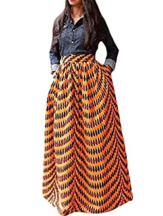VIGVOG Women's Ethnic Plus-Size African Print Pull-on Pleated Maxi ...