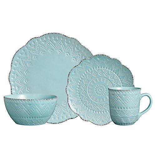 (Pfaltzgraff Remembrance Teal 48 Piece Dinnerware Set, Service for 12)