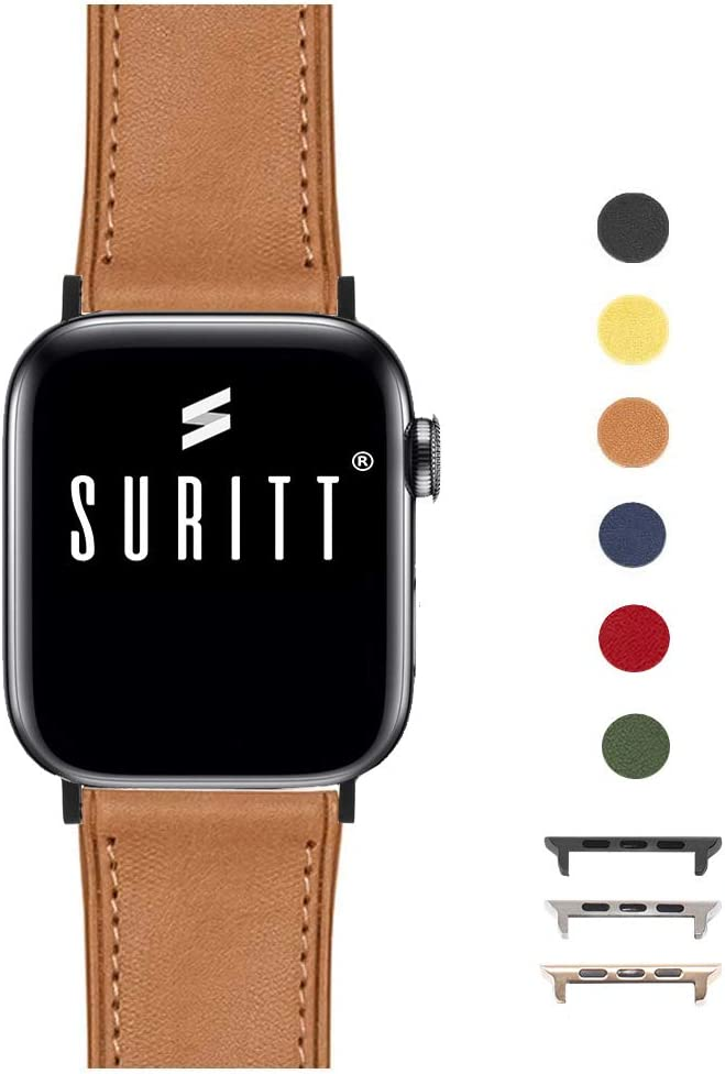 Suritt ® Correa para Apple Watch de Piel Rio (6 Colores Disponibles). 3 Colores de Hebilla y Adaptador para Elegir (Negro - Plata - Oro)(Series 1, 2, 3, 4 y 5). (42mm / 44mm, Saddle Brown/Black)