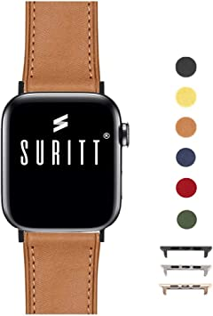 Suritt ® Correa para Apple Watch de Piel Rio (6 Colores Disponibles). 3 Colores de Hebilla y Adaptador para Elegir (Negro: Amazon.es: Electrónica