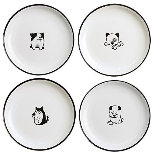 SOCOSY Cute Cartoon Dog Ceramic Seasoning Dishes Sauce Dish Sushi Dipping Bowl Appetizer Plates Tea Bag Holder Serving Dish for Kitchen 5'' -