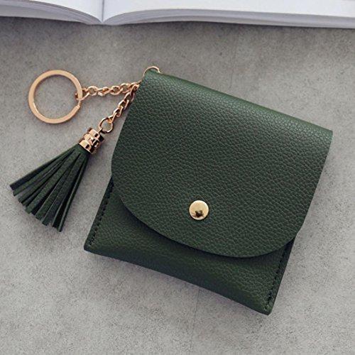 LHWY Mujer Sencillo Borla SóLido Billetera Corta Monedero Portatarjetas Bolso De Mano Monedero De Bolsillo Verde