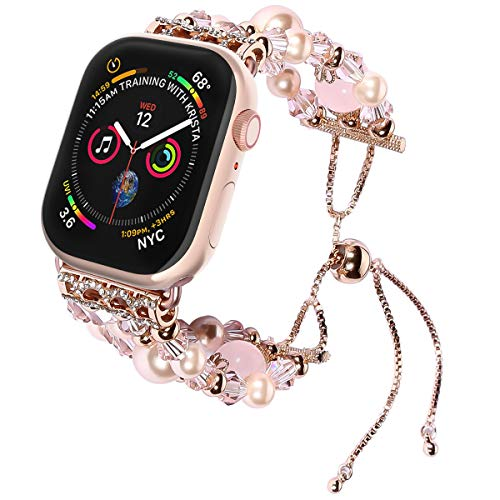 TILON Compatible for Watch Band Replacement 42mm/44mm Series 4, Handmade Artificial Pearl Elastic Beaded iWatch Bracelet for Women Girls [Updated Style]-Rose Gold