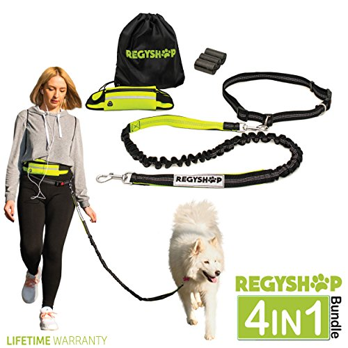 REGYSHOP Running Retractable Dog Leash - Hands Free Dog Leash with Bungee System and Reflective Waist Belt = Perfect for Small, Medium, Large Dogs –BONUS Poop Bags and Carrier Bag – Great as GlFT by REGYSHOP