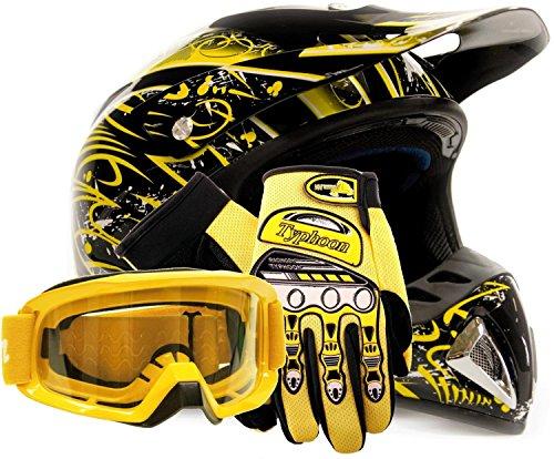 Adult Offroad Helmet Goggles Gloves Gear Combo DOT Motocross ATV Dirt Bike MX Black Yellow Splatter ( XL (Dirt Bike Gear Combo)