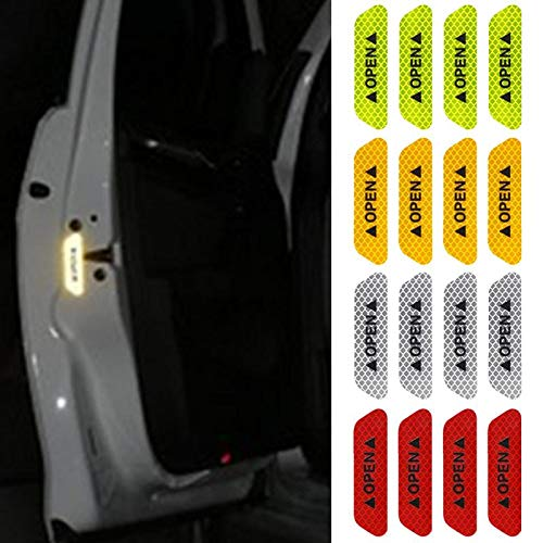 ETbotu 4Pcs/Set Safety Reflective Tape Open Sign Warning Safety Mark Car Door Reflector Strips Sticker Accessory Diamond Fluorescent Green by ETbotu (Image #3)