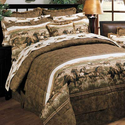 Wild Horses 8 Pc Queen Comforter Set (Comforter, 1 Flat Sheet, 1 Fitted Sheet, 2 Pillow Cases, 2 Shams, 1 Bedskirt) SAVE BIG ON BUNDLING!