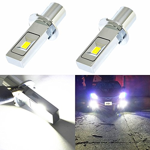 Alla Lighting New Super Bright H3 LED Fog Light Bulbs w/High Power CSP LED H3 Bulb 6000K Xenon White H3 Fog Light Lamps Replacement (Set of 2)