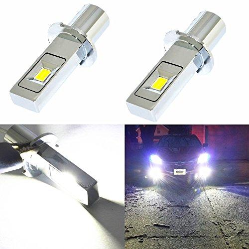 (Alla Lighting New Super Bright H3 LED Fog Light Bulbs w/High Power CSP LED H3 Bulb 6000K Xenon White H3 Fog Light Lamps Replacement (Set of 2))