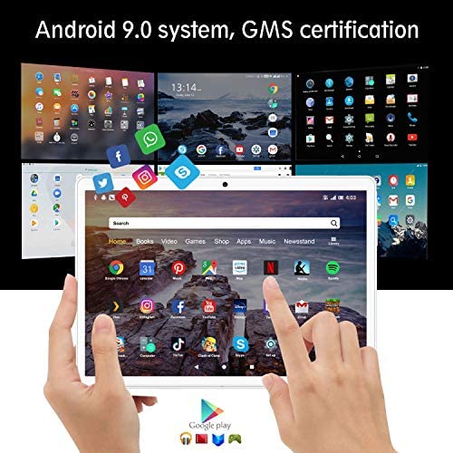 [2020 New] Tablets, 10.1 inch Tablet, Android 9.0 Pie Tablet, Quad-Core Processor, 3GB RAM 32GB ROM with 1280×800 IPS HD Display, Dual SIM 4G, 8MP Rear Camera, Bluetooth 5.0, WiFi, GPS- (Gold) 51YI4Fc3jUL