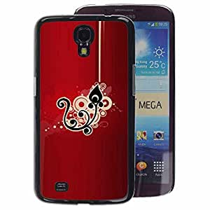 A-type Arte & diseño plástico duro Fundas Cover Cubre Hard Case Cover para Samsung Galaxy Mega 6.3 (Black Drawing Pattern Floral)