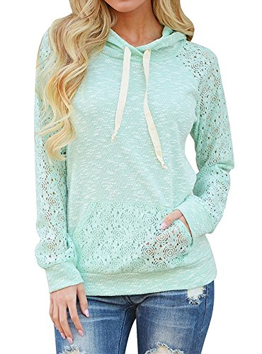 Women Lace Long Sleeve Hooded Pullover Floral Sweatshirt Hoodie With Pockets Mint Plus Size 2X