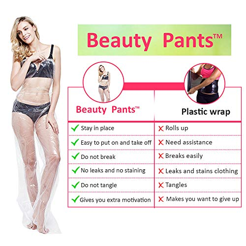 Beauty Pants - Plastic Wrap for Weight Loss/SPA Body Treatments - Body Wrap Weight Loss, Stomach Wrap for Weight Loss, Cellulite Wraps, Plastic Body Wrap Stomach, Tummy, Waist, Thighs, Legs - 10/Pack