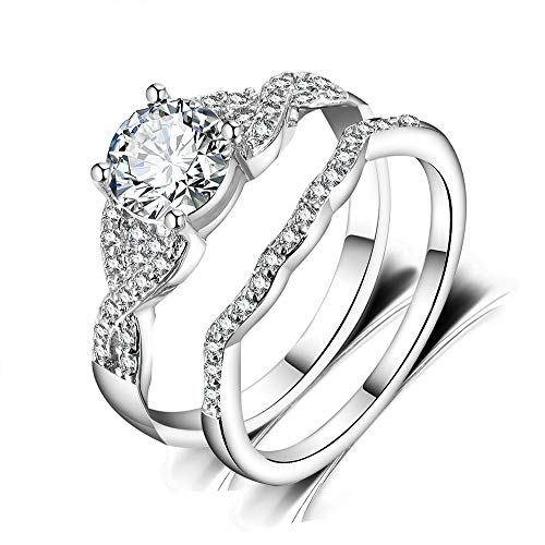 Lateefah 2pcs Silver Wedding Rings for Women AAA Cubic Zirconia Bridal Set Engagement Rings Size 5-10