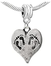 Baby Heart Charm Bead Compatible for Most European Snake Chain Bracelets