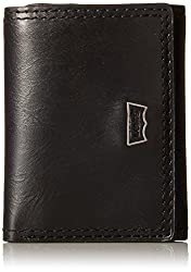 Levi's Men's Trifold Wallet with Levis Batwing Hardware Logo Vertical, Black, One Size