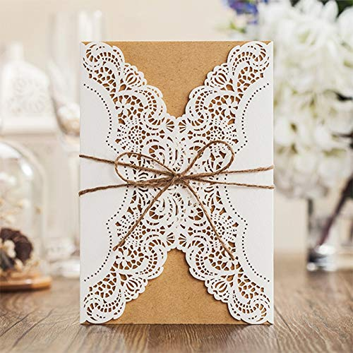 1 Design Laser Cut White elegant Pattern West Cowboy Style Vintage Wedding invitations Card Kit Blank Paper Printing Invitation -