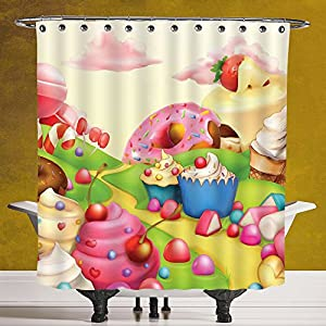 Durable Shower Curtain 3.0 by SCOCICI [ Modern,Yummy Donuts Sweet Land Cupcakes Ice Cream Cotton Candy Clouds Kids Nursery Design,Multicolor ] Fabric Bathroom Decor Set with Hooks
