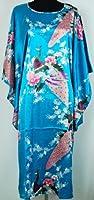 Thai Vintage Women's Nightgown Kimono Robe Sleepwear Lake Blue One Size