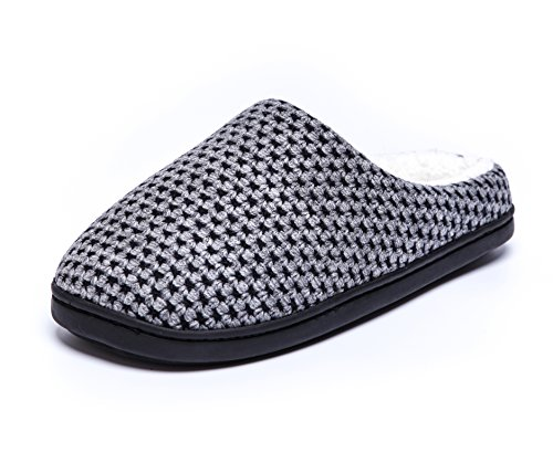 Mens Memory Comfortable Womens Dark Slippers House NineCiFun Gray Foam Indoor wx5dY
