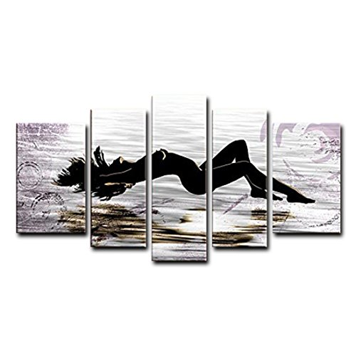 VASTING ART 5-Panel 100% Hand-Painted Oil Paintings Landscape Human Floating Women Modern Abstract Artwork Canvas Stretched Wood Framed Ready To Hang Home Decoration Wall Decor Living Room Bedroom