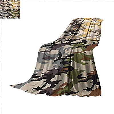 Camo Throw Blanket Camouflage Patterns in Four Going Undercover Combination Illustration Warm Microfiber All Season Blanket for Bed or Couch 50 x 30 inch Multicolor