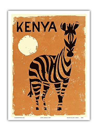 Kenya, Africa - Zebra - Vintage World Travel Poster c.1960 - Master Art Print - 9in x 12in