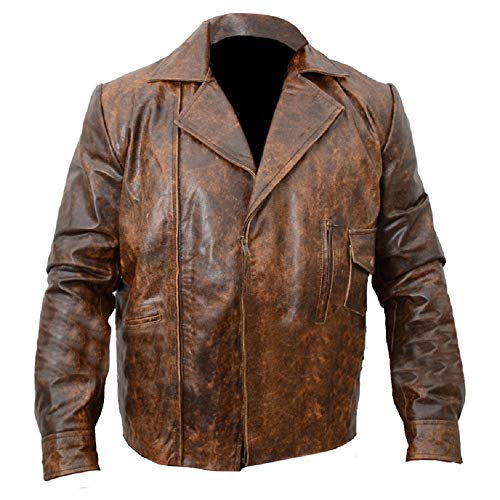 Retro Vintage Distressed Copper Escape from LA Kurt Russell Biker Real Cowhide Leather Jacket