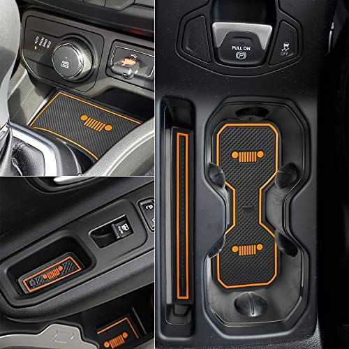 Auovo Anti-dust Interior Cup Mats Door Gate Slot Storage Mats for Jeep Renegade 2018 (16PCS/Set, Orange)