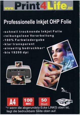 200 Blatt A4 Overheadfolie glasklar Präsentationsfolie (OHP Transparentfolie Transparentpapier) für Inkjetdrucker, Inkjet, Tintenstrahldrucker