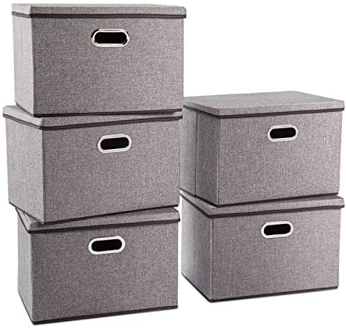 Prandom Large Collapsible Storage Containers with Lids [5-Pack] Linen Fabric Foldable Storage Bins Boxes Organizer Baskets Cube with Cover for Home Bedroom Closet Office Nursery (17.7x11.8x11.8)