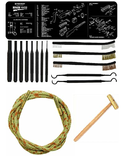 Otis Ripcord .22Cal .22 Cal Bore Barrel Cleaner + Ultimate Arms Gear Cleaning Gun Mat Ruger 10/22 10-22 10 22 Rifle + 8pc Pin Punch Tool + Brass Hammer + 3 Brushes & 2 Picks (Ruger 10 22 Threaded Barrel)