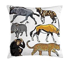 DHNKW Zoo Throw Pillow Cushion Cover, Arrangement of Cartoon ...