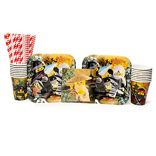 Lego Ninjago Movie Party Supplies Pack for 16 Guests: Straws, Dessert Plates, Beverage Napkins, and Cups