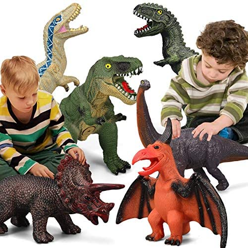 6 Piece Jumbo Dinosaur Toys for Kids and Toddlers,Jurassic World Blue Velociraptor T-Rex Triceratops, Large Soft Dinosaur Toys Set for Dinosaur Lovers – Perfect Dinosaur Party Favors, Birthday Gifts