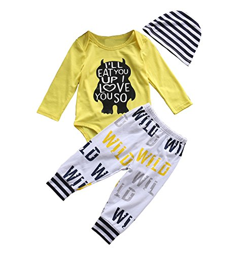 Tomfree Baby Boys Girls Wild Love You So Much Funny Bodysuits Pants Hat 3pcs Outfits (18-24M, Yellow) by Tomfree