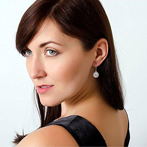 Jane Stone Sterling Silver Earrings Cubic Zirconia Halo Earrings Leverback Earrings Round Rhinestone Dangle Earrings Wedding Jewelry for Women Bridal by Jane Stone (Image #4)