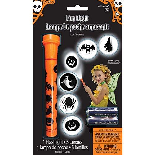 Amscan Family Friendly Halloween Jack-O-Lantern Fun Light Torch Party Favor, Orange/Black, 6 1/2