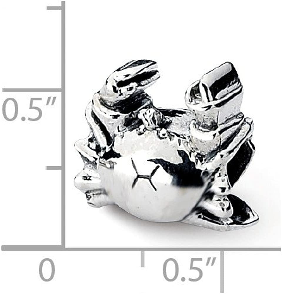 Bead Charm White Sterling Silver Themed 9.09 mm 10.00 Reflections Crab