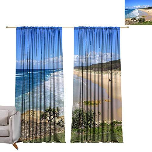 Davishouse Durable Curtain A Sunny Day at The Beach at North Stradbroke Island Off The Coast of Brisbane in Australia 70%-80% Light Shading, 2 Panels,W84 x L84