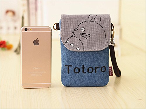 Abaddon Vintage Printed Handmade Women Mini Crossbody Bag Cellphone Pouch Small Handbag Coin Purse (blue totoro) by Abaddon (Image #3)'
